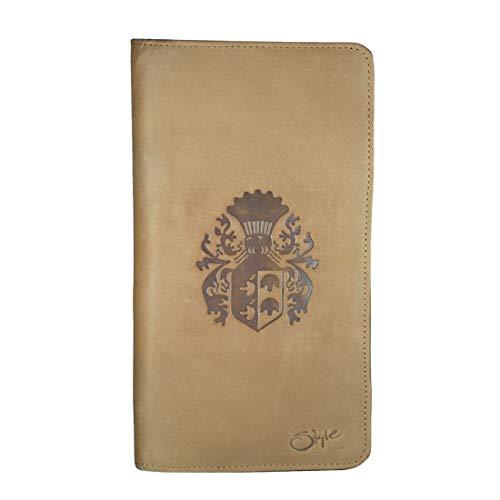 Style98 Men's and Women's Leather Zipper Travel Passport Wallet Holder Mobile Case Personal Organiser (Tan)