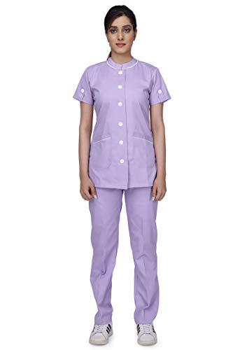 Uniform Craft Cotton Twill Nurse Uniforms - Ideal for Medical scrubs for Women | Scrub suit for Women | Scrub Suit for Nurses | Hospital Uniform, NT11 Light Purple_L