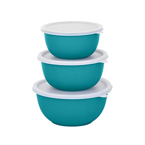 Zaib Microwave Safe Steel Bowl with Lid Set of 3 (Turqoise)