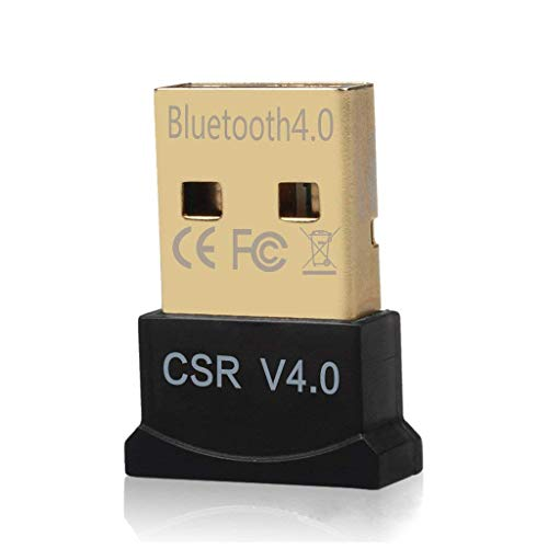 NSinc - Mini USB Bluetooth Adapter, CSR 4.0 USB Bluetooth Dongle Receiver with All in One Driver CD, Gold Plated, for Laptop PC Computer Supports Windows 10 8 7 Vista XP 32/64 Bit
