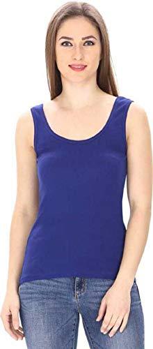 new vd fashion Women's Poly Cotton Camisole Sleeveless Vest Slim Crop Top Spaghetti Strap (Blue, Large)