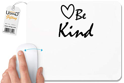 UDNAG White Mousepad 'Heart | Heart be Kind' for Computer/PC/Laptop [230 x 200 x 5mm]