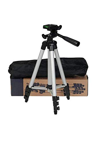 SKMA Tripod 3110 Smart Aluminium Adjustable Portable and Foldable Tripod Stand Clip and Camera Holder