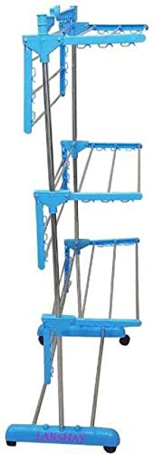 Vblue Single Pole triply Layer Clothes Dryer Stand mild Steel Carbon Steel, Plastic Floor Cloth Dryer Stand (Orange) - vblue Product