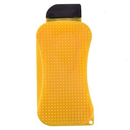 Moolten 3 in 1 Silicon Dishwasher Brush,Scrubber, Soap Dispenser, Scraper(Yellow) 1Pes