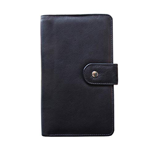 ABYS Genuine Leather Black Unisex Business Card Holder  Passport Wallet  Passport Holder  Mobile Cover with Metallic Zip Closure
