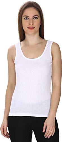 new vd fashion Women's Poly Cotton Camisole Sleeveless Vest Slim Crop Top Spaghetti Strap (White, Large)