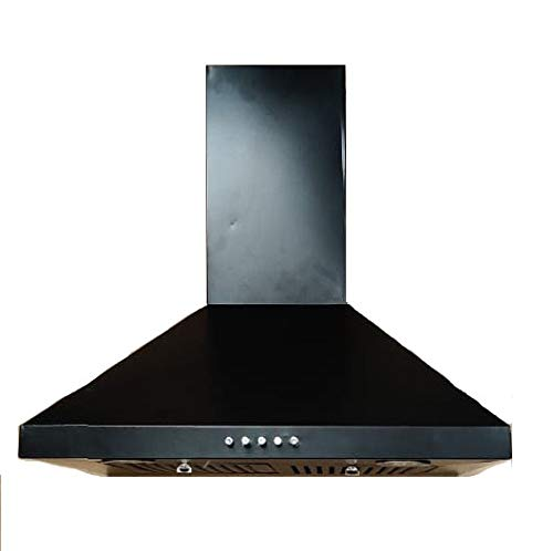 Femerell 60 cms Wall Mount Black Pyramid Kitchen Chimney with 3 Speed Copper Motors