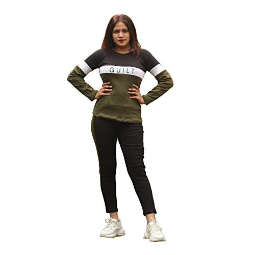 Fashion Trend Women's Guilt Print D.Green Color Tracksuit Top & Leggings Pant Outfit Set for Women's (M)