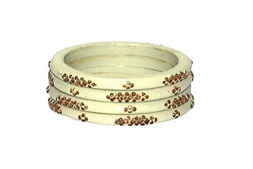 Exotic Hub Textured Bangles / Lac Bangle Handmade Bangles Set for Women Set of 4 (off White, 2.6)