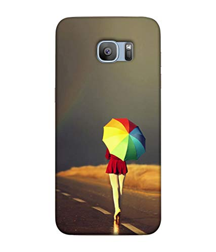S SMARTY Rainbow Umbrella Printed Hard Case Mobile Back Cover for Samsung Galaxy S7 Edge