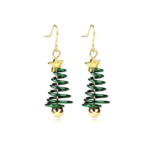 AMAZYJ Christmas Tree Earrings Tree Dangle Hook Christmas Earrings Holiday Party Drop Earrings Small Cute Christmas Costume Jewelry for Women Girls (Green)
