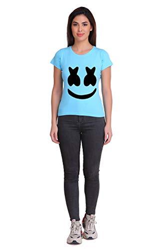 Zigshaw Fashion Women Graphic Print Round Neck T-Shirt Sky Blue