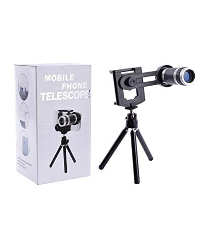 RIYA Products 8X Extra Zoomer Optical Zoom Telescope Mobile Camera Lens with Tripod + Adjustable Phone Holder Compatible with All Android and iOS Devices Model 61467