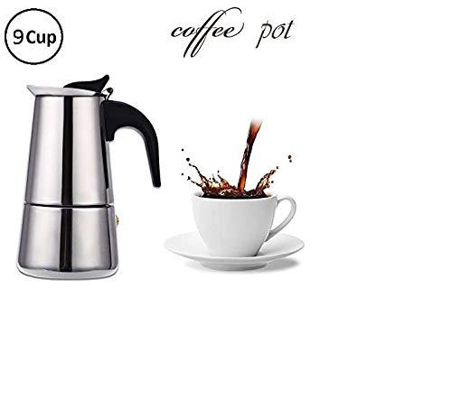 DISHIN Stainless Steel Espresso Coffee Maker/Percolator Coffee Moka Pot Maker, Silver (6 Cup)