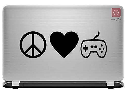 ISEE 360® Peace, Love and Gaming, Laptop Sticker Laptop Skin 14, 12,15.6,15 Inches and All Models Vinyl (Black) Decals L x H 28 cm x 12 cm