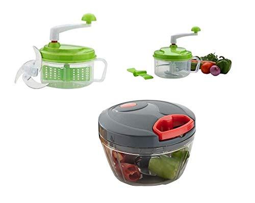 SRKitchenAim Chop N Churn Kitchen Food Processor + Manual Food Chopper, Compact & Powerful Hand Held Vegetable Chopper Blender to Chop Fruits and Vegetables(Multicolor)