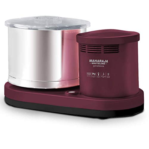 Maharaja Whiteline 150 W Grindstone Wet Grinder 2 L (Cherry Red) with Coconut Scrapper Attachment, 5 Year Motor Warranty