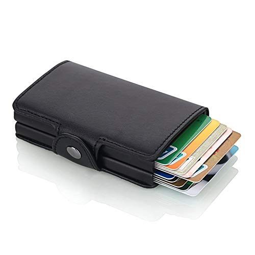 ae mobile accessorize AEMA Carrken Antitheft Men and Women Debit,Credit Card Holder PU Leather RFID Bank Card Cases Business Card Pocket FL20 (Jet Black)