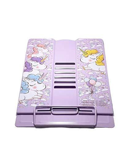 Gift Boxx Unicorn Metal Portable Folding Book Reading Stand Adjustable Desktop (Big Size Stand) (Purple)