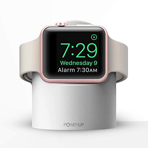 Powerup® Dock Stand Designed for Apple Watch Series 1; Series 2; Series 3; with Fast Wireless Charger & Compact Magnetic Charging Module Compatible with iWatch 38-44 mm (White)