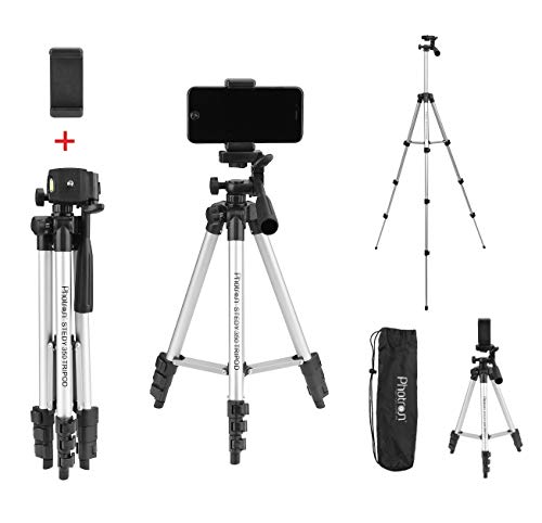 Photron STEDY 350 Tripod with Mobile Holder for Smart Phone, Compact Camera, Mobile Phone | Maximum Operating Height: 1050mm | Weight Load Capacity: 2kg | 4-Tube Section, Case Included [NOT for DSLR]