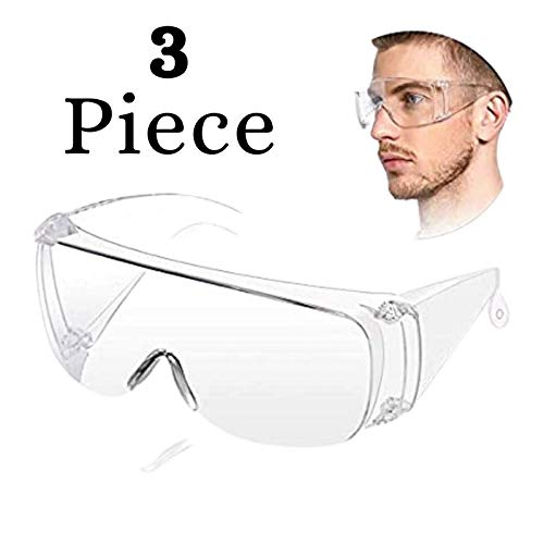 (Pack of 3) Non-Breakable Flexible Anti-Fog Clear Lens Chemical Splash Eye Protective Shield Lightweight Transparent Wide-Vision Safety Goggle by Dyno