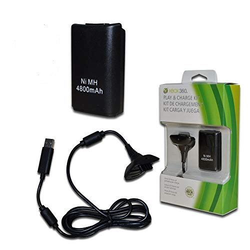 TCOS TECH Xbox 360 Play and Charge Kit Rechargeable Battery Pack for Xbox 360 Wireless Controller