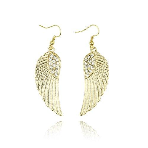 FOTTCZ Gothic Angel Feather Earrings, Elegant Angel Wings Earrings, Retro Gold Angel Wings Drop Earrings for Women Girls