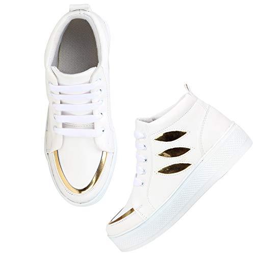 FASHIMO Women's Sneakers JSK2-White-41