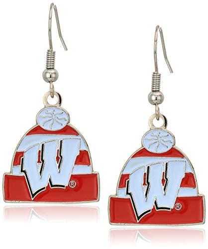aminco NCAA Wisconsin Badgers Knit Hat Dangler Earrings