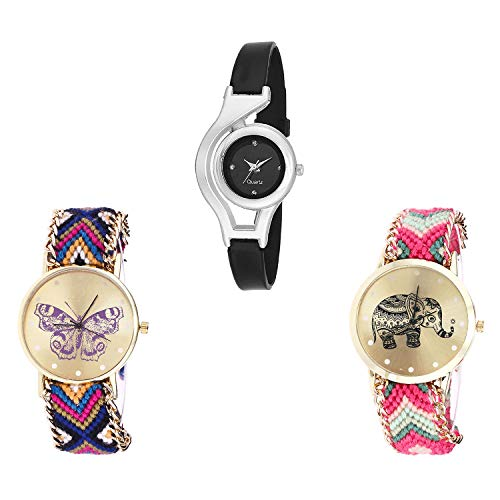 NIKOLA World Cup, Butterfly, Elephant Analog Black and Gold Color Dial Women Watch - G1-G140-G163 (Pack of 3)