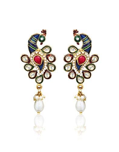 Peacock Pattern Earrings By Zaveri Pearls-Zpfk317