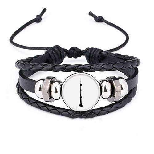 DIYthinkerMoscow Ostankino Tower Bracelet Braided Leather Woven Rope Wristband