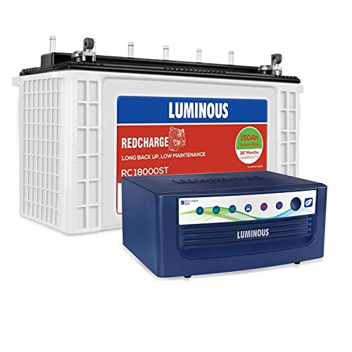 Luminous Eco Volt+ 850 Pure Sine Wave Inverter with Red Charge RC18000 ST 150 Ah Short Tubular Battery for Home, Office & Shops (Blue & White)