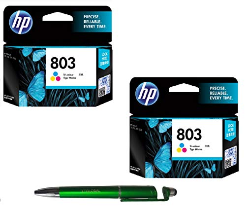 HP 803 Colour Ink Cartridge Combo Twin - 2 Pcs Bundle with ITGLOBAL 3 in 1 Multi-Function Anti-Metal Texture Rotating Ballpoint Pen, Creative Mobile Phone Stand, Stylus Pen (Very Colors) F6V20AA