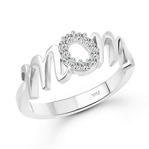 Vighnaharta Rhodium Plated Alloy and Cubic Zirconia Mom Ring for Women & Girls (White)