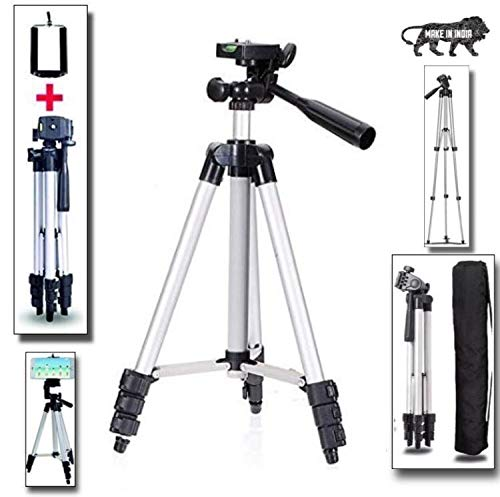 Premium Adjustable Light Weight Aluminium Alloy Tripod Stand Holder for All Mobile Phones & Camera, 360 mm -1050 mm Height, 1/4 inch Screw + Mobile Holder Bracket with Bag