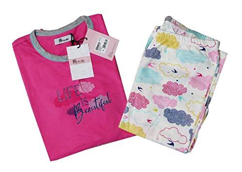 Women's Cotton Stylish Comfortable and Soft Half Sleeve Summer Unique Print Night Suit - Top & Capri Set (Pink, 42)