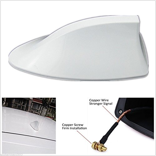 Motoway Car Shark Fin Roof Antenna Radio FM/AM Car Accessories Decorate White for Ford Eco Sport