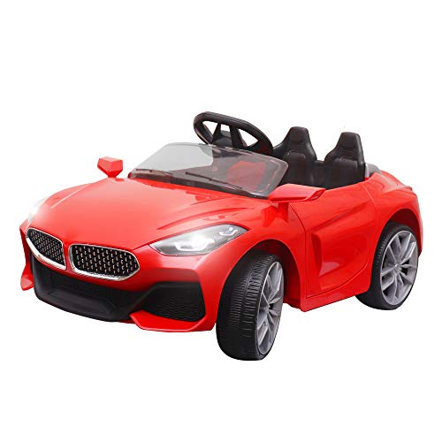 SHAKYA WORLD 12V Battery Operated Z4 Ride on Battery Car for Kids/Children/Toddlers/Boys/Girls 1 to 4 Years with Remote Control , Swing Option, Lights and Music System, Red