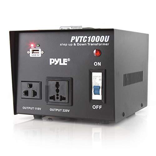 Pyle PVTC1000U Step Up and Step Down 1000 Watt AC 110/220 V Converter Transformer with USB Charging Port