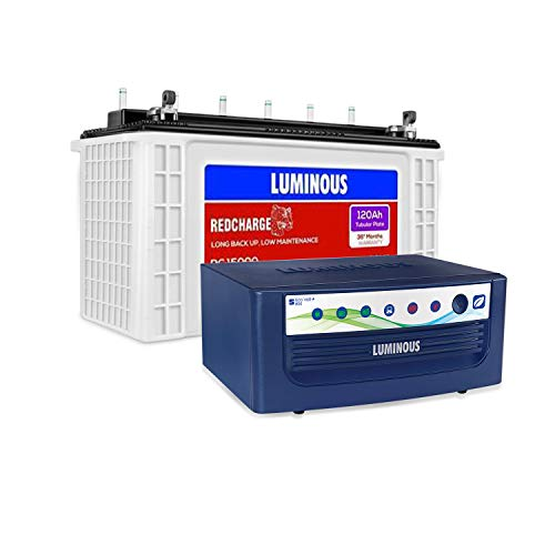 Luminous Eco Volt+ 850 Pure Sine Wave Inverter with Red Charge RC 15000 120 Ah Recyclable Tubular Battery for Home, Office & Shops (Blue & White)