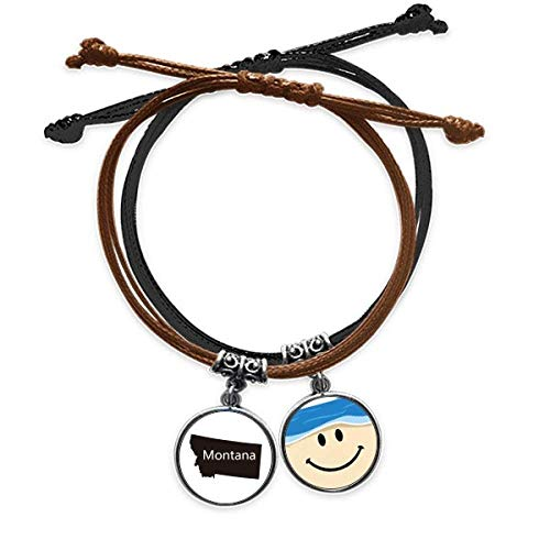 DIYthinkerMontana America USA Map Outline Bracelet Rope Hand Chain Leather Smiling Face Wristband