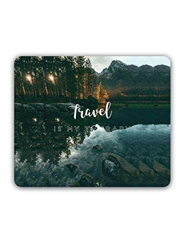 Madanyu Designer Mousepad Non-Slip Rubber Base for Gamers - HD Print - Travel is My Therapy