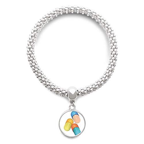 DIYthinkerHealth Care Products Capsule Pill Pattern Sliver Bracelet Pendant Jewelry Chain Adjustable Bangle