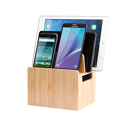 MobileVision Bamboo Charging Station Stand and Multi Device Organizer Charging Dock with Extension Compartment for Individual Desktop Storage Caddy / Tray Personal Space Saver capabilities for your Smartphones / Tablets like