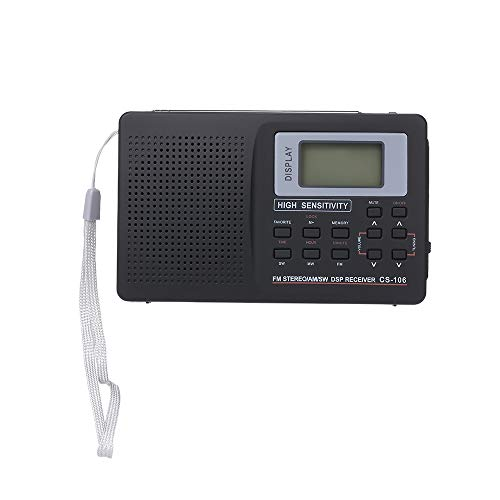 KKmoon-1 Portable FM/AM/SW Radio Multiband Digital Stereo Radio Receiver Earphone Output Time Display External with Alarm Clock Function