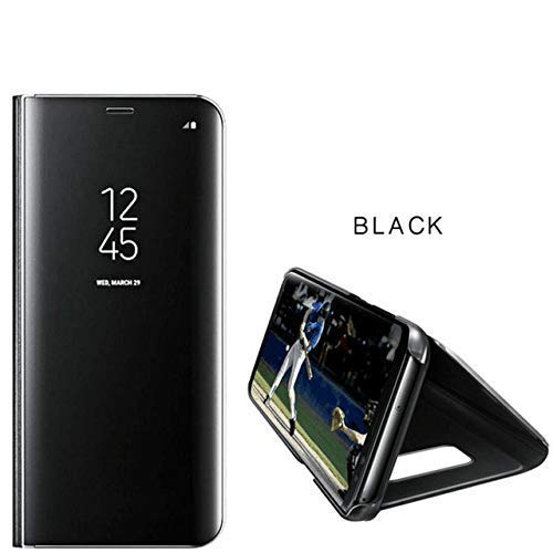 Go Crazzy for Samsung Galaxy M30 Flip Stand Clear View Standing flip Case with Smart Mirror Phone Case with Optimized Viewing Angle for Samsung Galaxy M30 (Black)