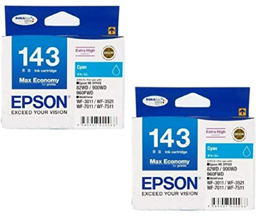 Epson Combo C13T143290 143 Cyan Ink Cartridge Set of 2 Bundle with ITGLOBAL 3 in 1 Multi-Function Anti-Metal Texture Rotating Ballpoint Pen, Creative Mobile Phone Stand, Stylus Pen (Very Colors)